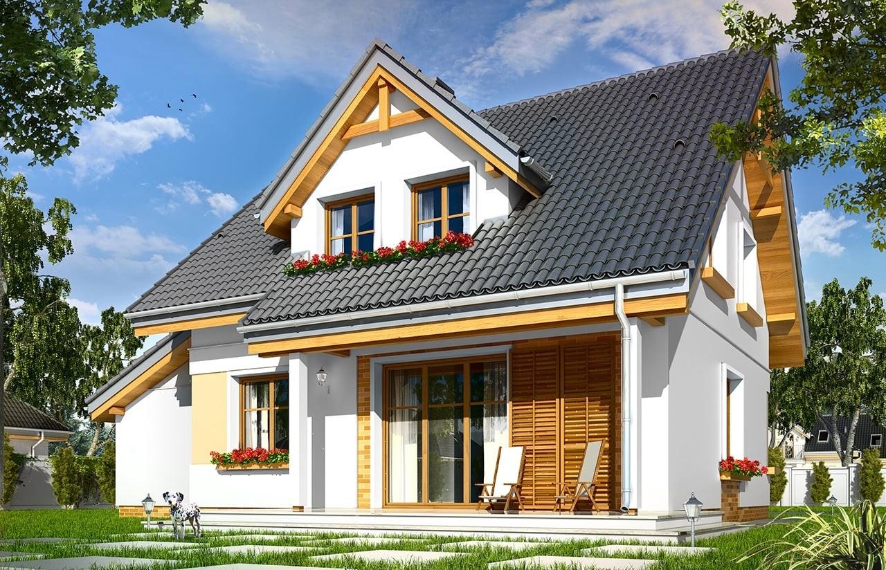 Projekt domu Spokojny - wizualizacja tylna odbicie lustrzane
