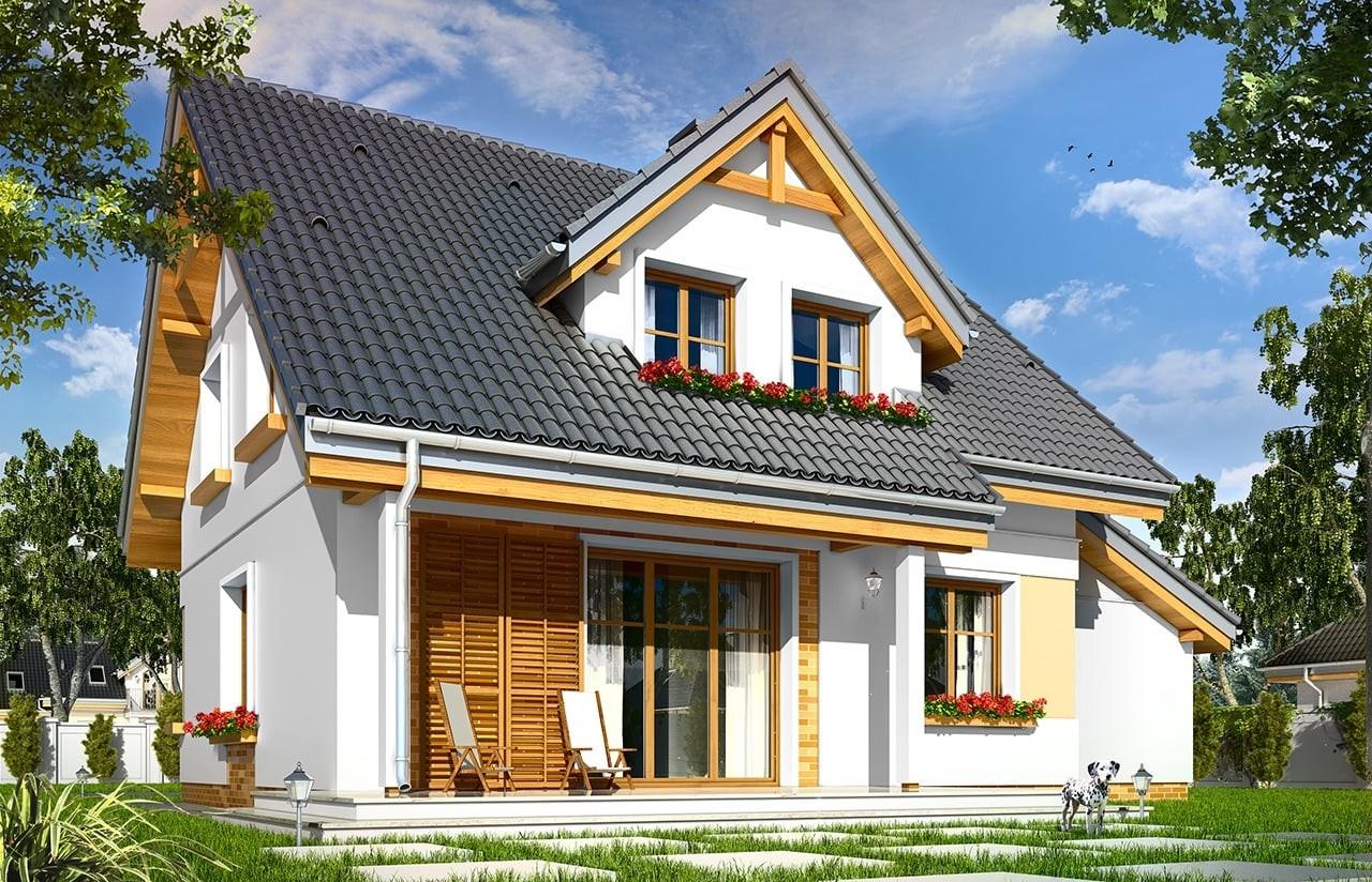 Projekt domu Spokojny - wizualizacja tylna