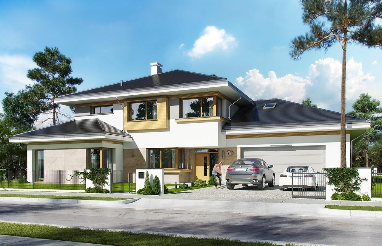 Projekt domu Spokojny Zakątek - wizualizacja frontowa odbicie lustrzane