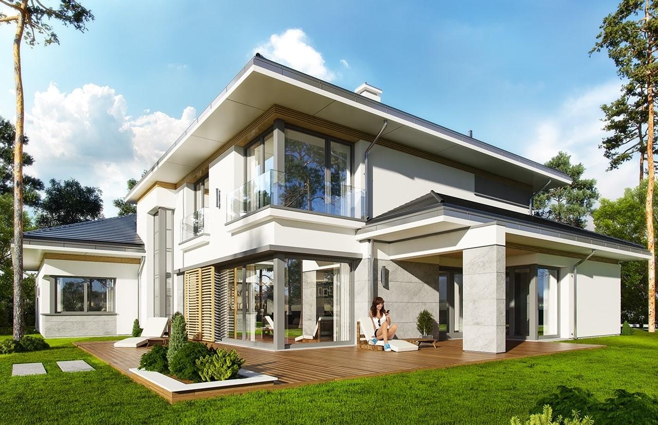 Projekt domu Spokojny Zakątek - wizualizacja tylna odbicie lustrzane