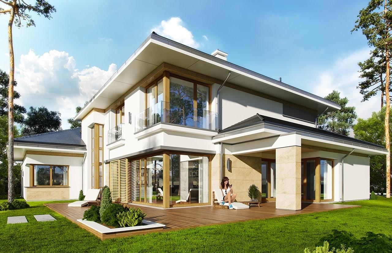 Projekt domu Spokojny Zakątek  - wizualizacja tylnaodbicie lustrzane