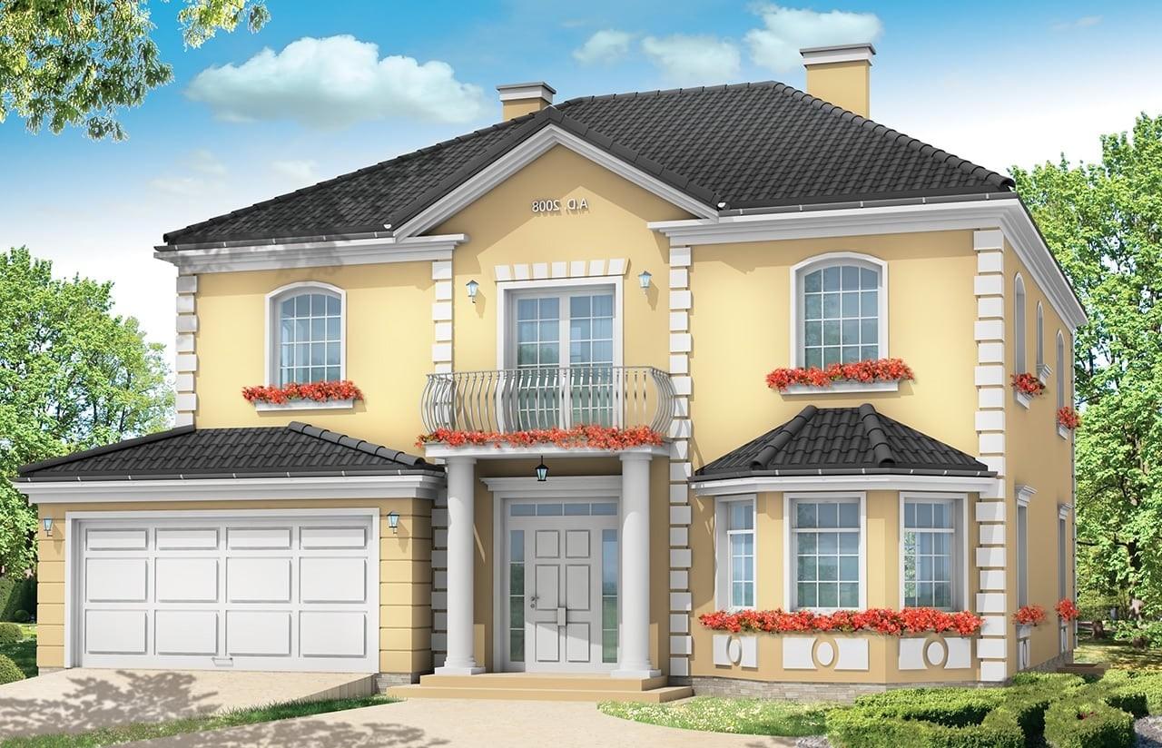 Projekt domu Stylowy - wizualizacja frontowa odbicie lustrzane