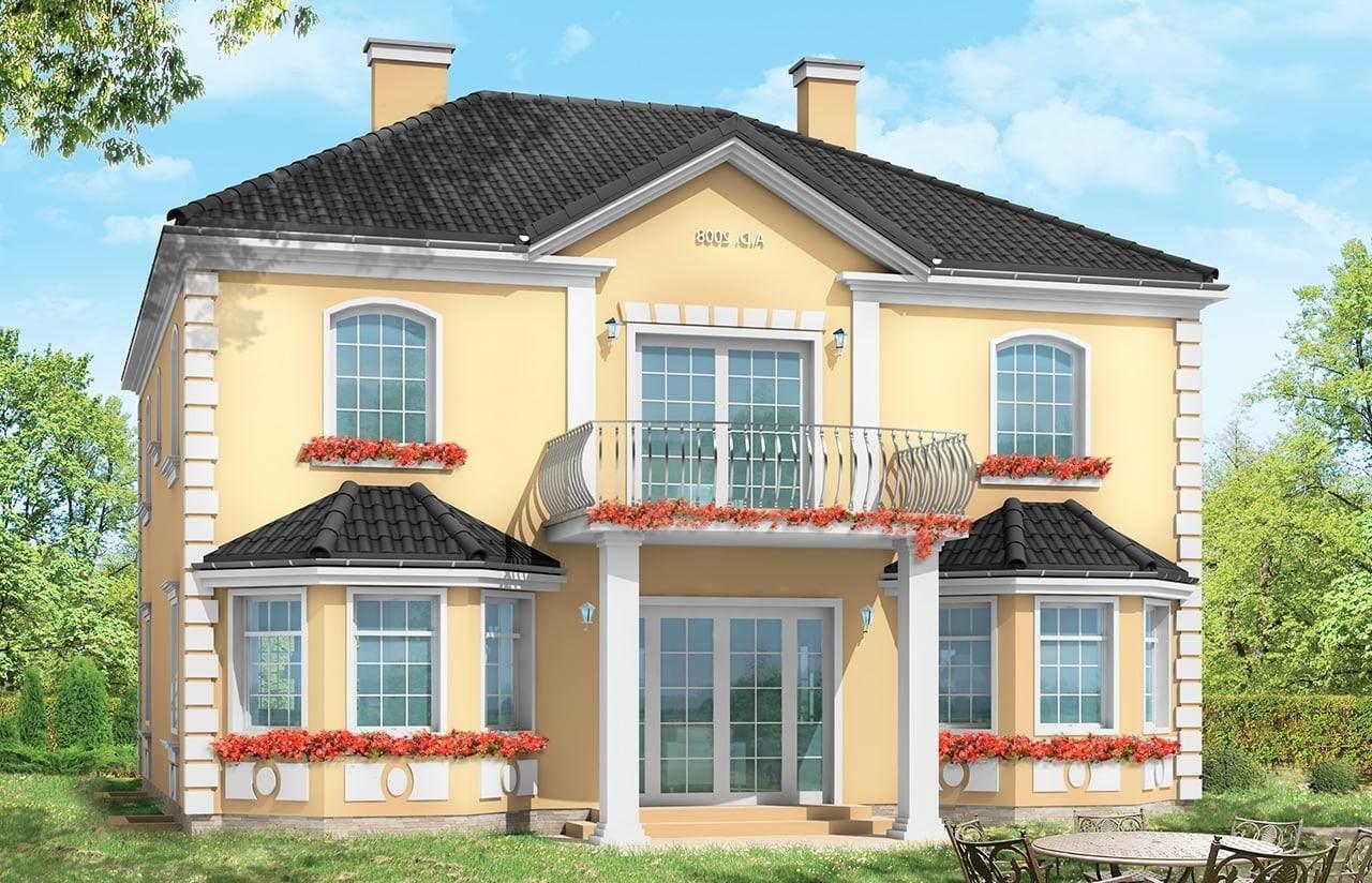 Projekt domu Stylowy - wizualizacja tylna odbicie lustrzane