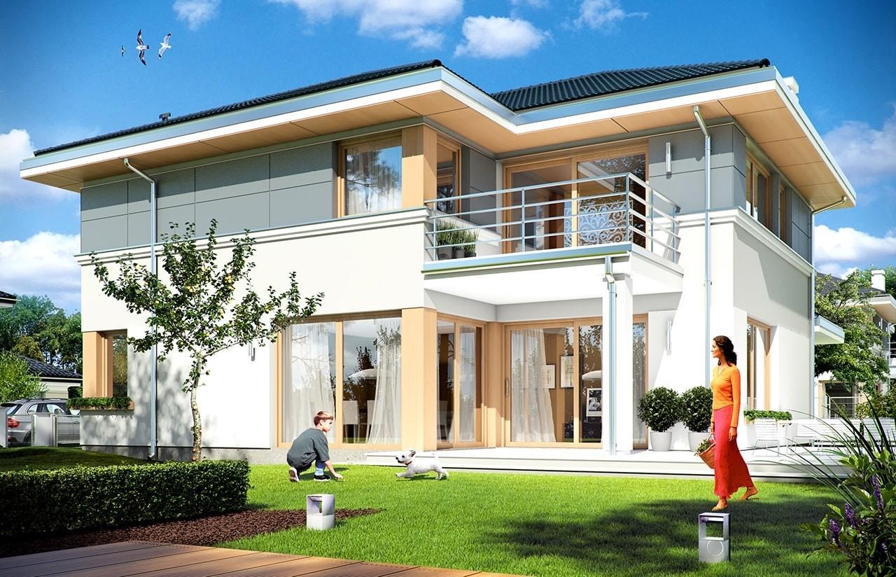 Projekt domu Sydney - wizualizacja tylna odbicie lustrzane