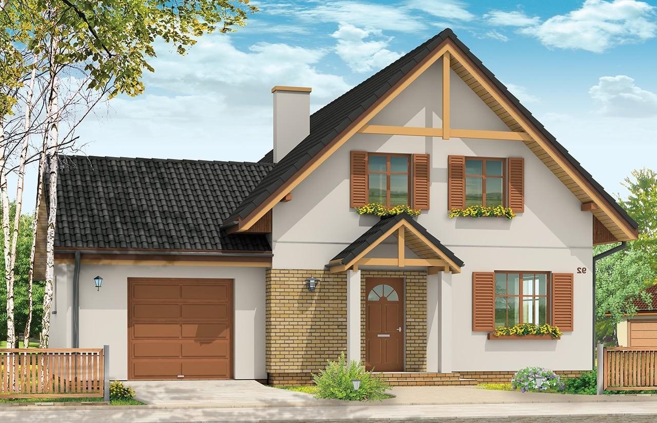 Projekt domu Sylwia - wizualizacja frontowa odbicie lustrzane
