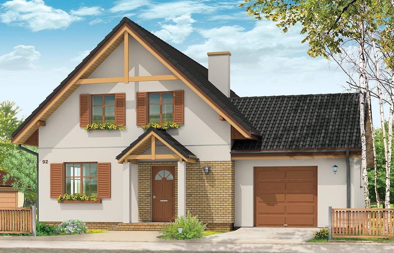 Projekt domu Sylwia - wizualizacja frontowa