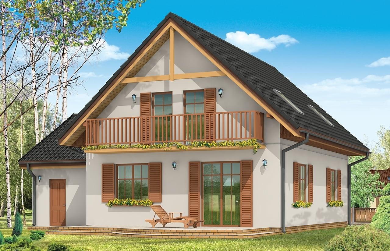 Projekt domu Sylwia - wizualizacja tylna