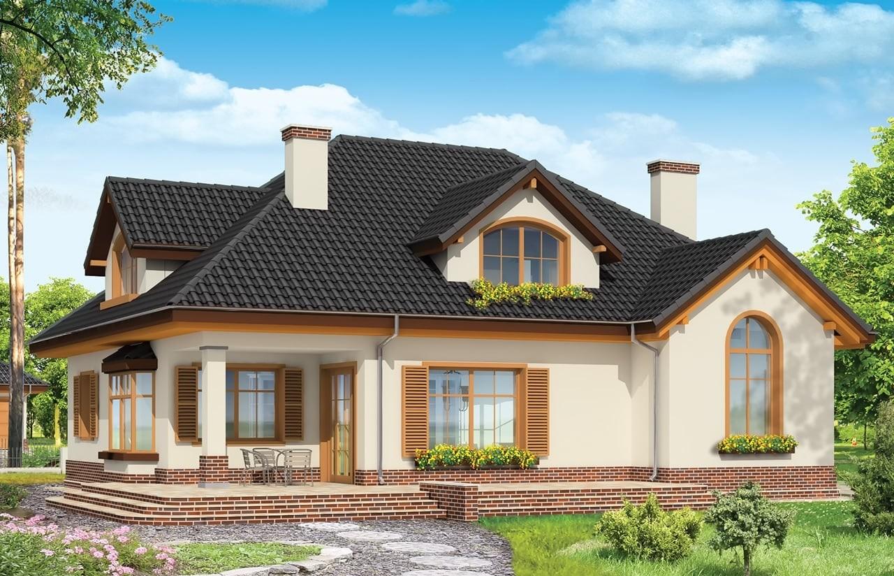 Projekt domu Sympatyczny - wizualizacja tylna