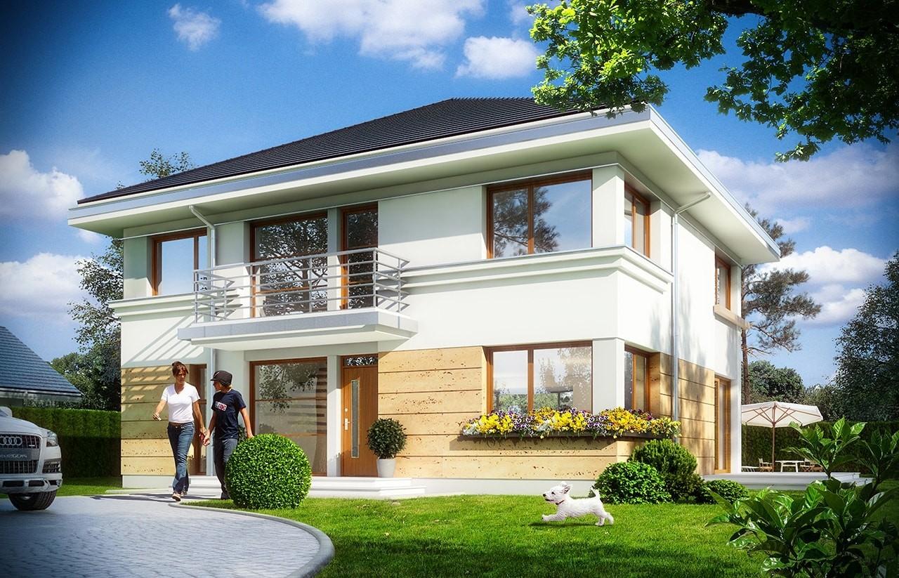 Projekt domu Szafir - wizualizacja frontowa odbicie lustrzane
