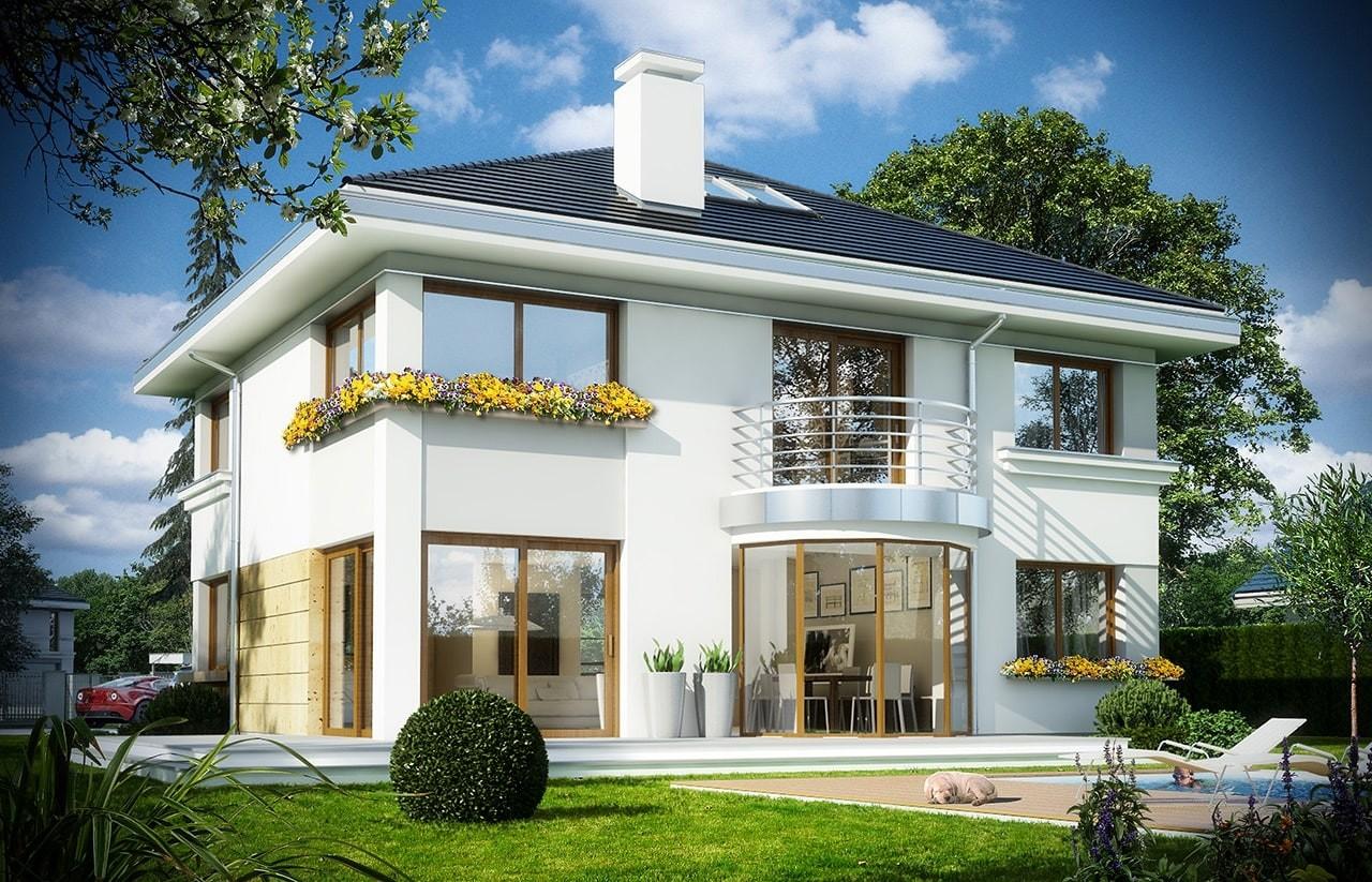 Projekt domu Szafir - wizualizacja tylna odbicie lustrzane