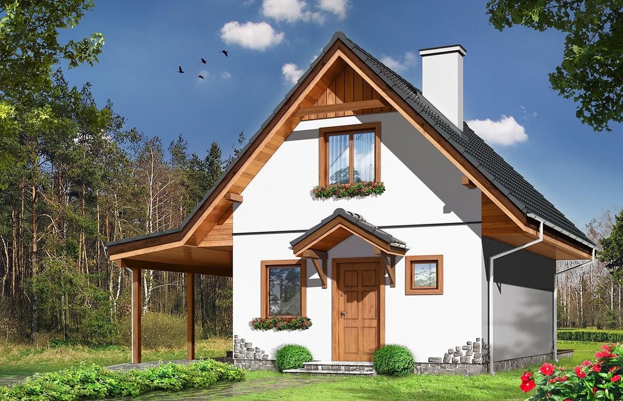 Projekt domu Szarejka - wizualizacja frontowa odbicie lustrzane