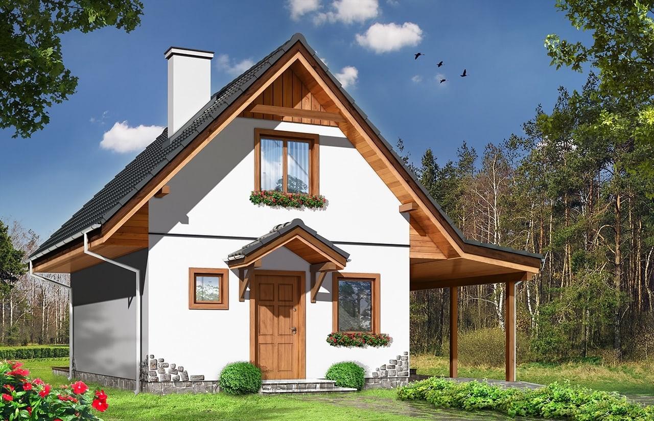 Projekt domu Szarejka - wizualizacja frontowa