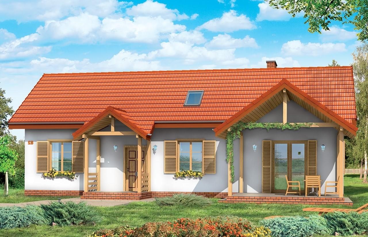 Projekt domu Szczygieł - wizualizacja tylna odbicie lustrzane
