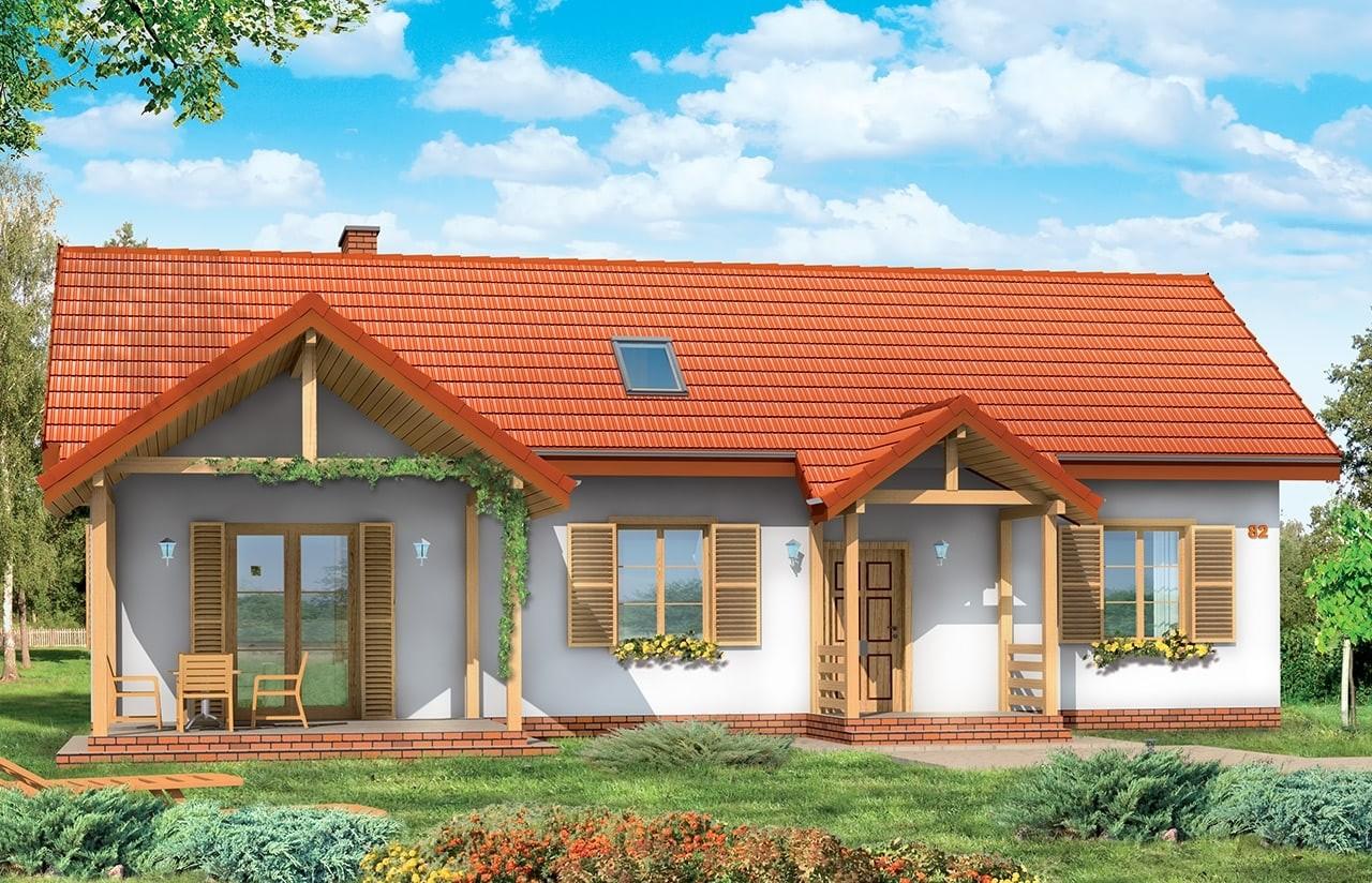 Projekt domu Szczygieł - wizualizacja tylna