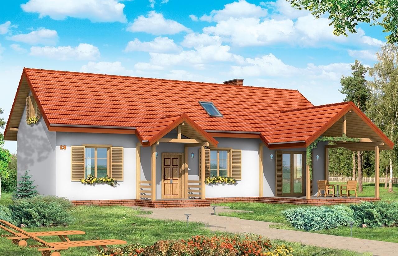 Projekt domu Szczygieł - wizualizacja frontowa odbicie lustrzane
