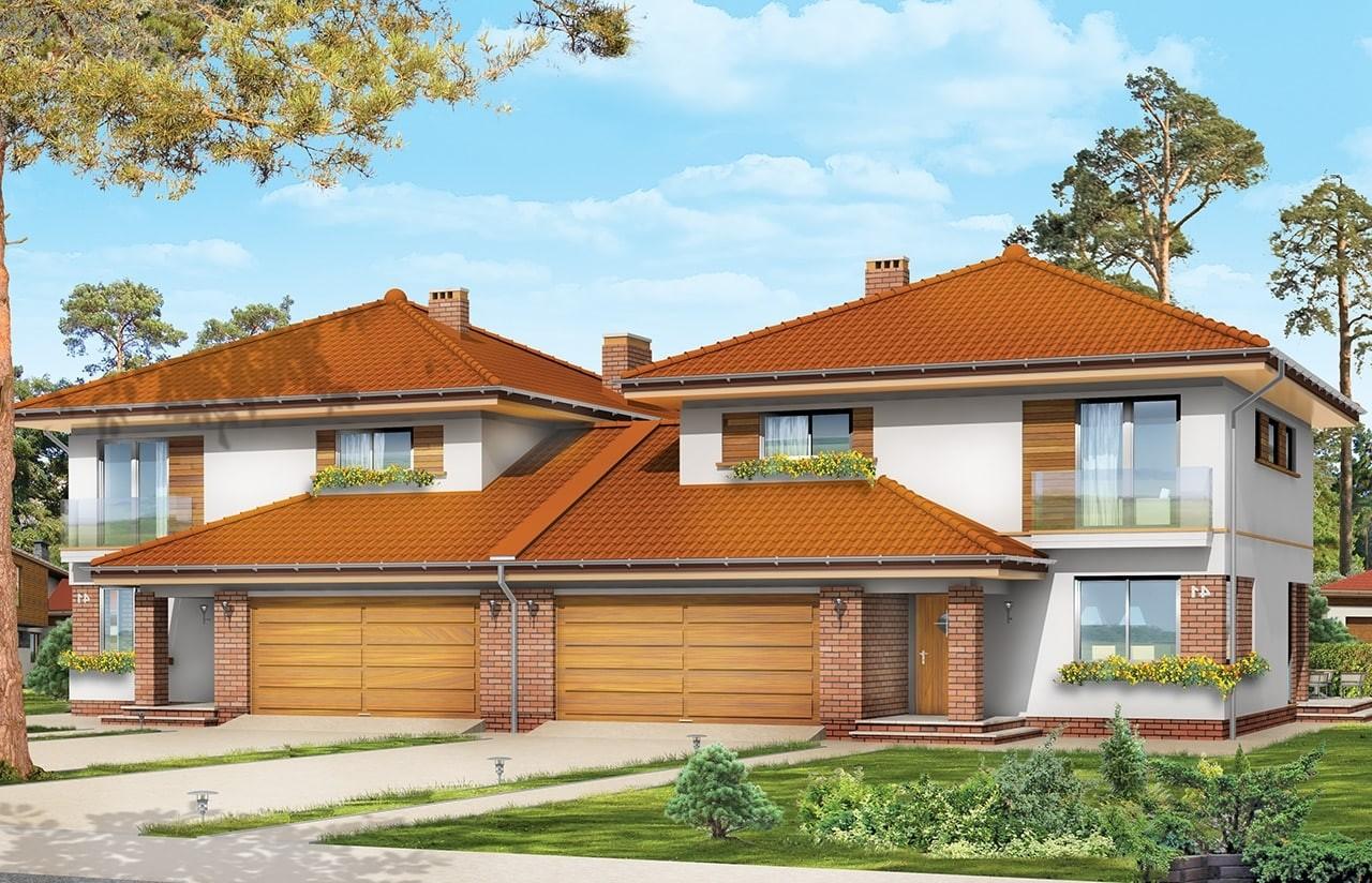 Projekt domu Szmaragd 2 - wizualizacja frontowa odbicie lustrzane