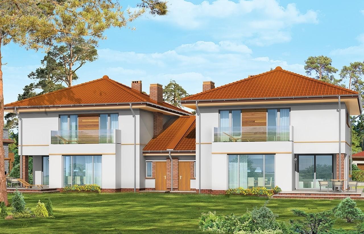 Projekt domu Szmaragd 2 - wizualizacja tylna odbicie lustrzane