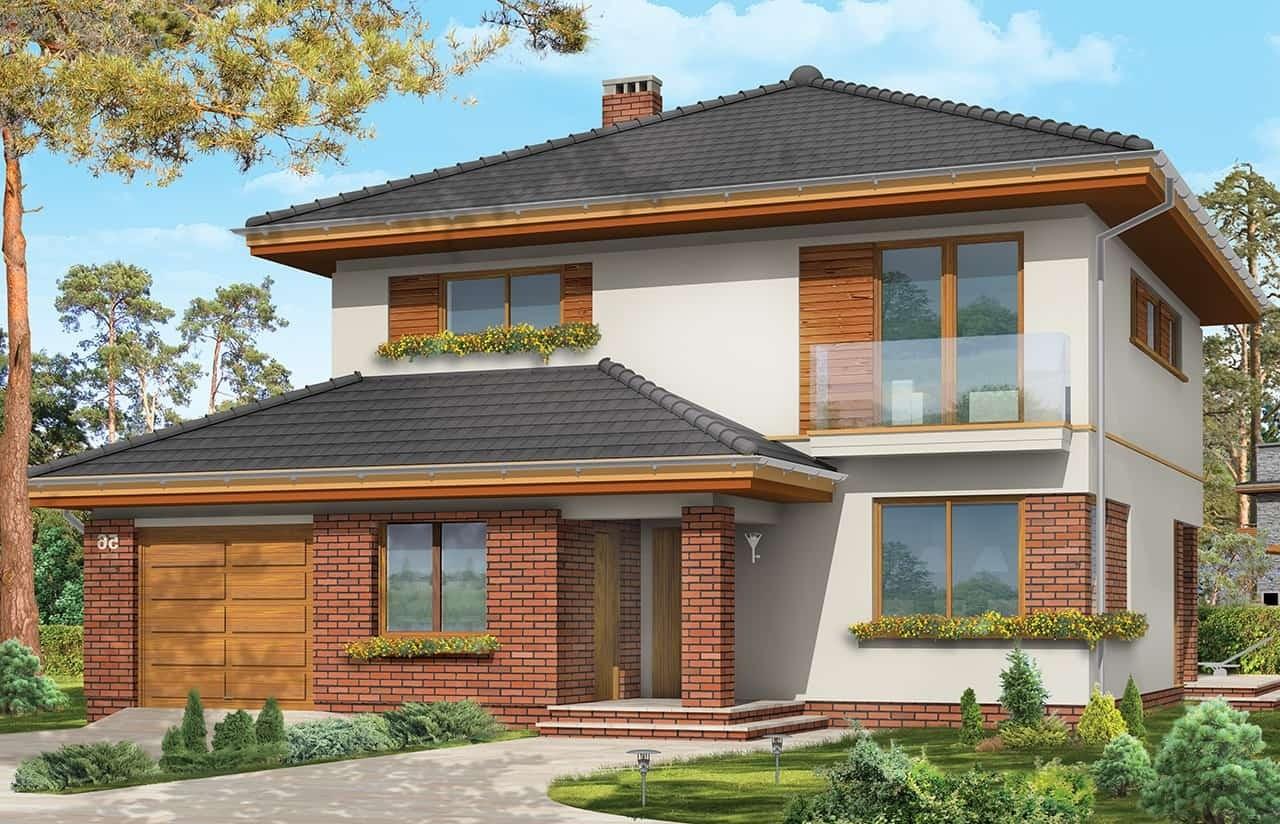Projekt domu Szmaragd 3 - wizualizacja frontowa odbicie lustrzane