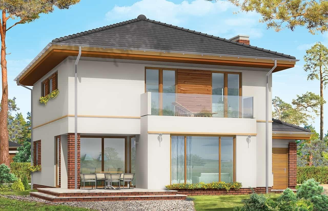 Projekt domu Szmaragd 3 - wizualizacja tylna odbicie lustrzane