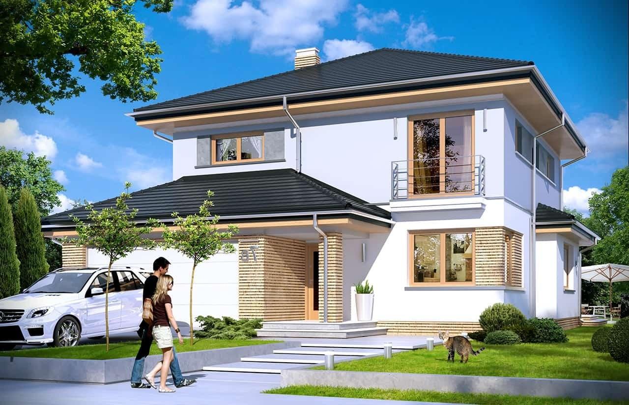 Projekt domu Szmaragd 4 - wizualizacja frontowa odbicie lustrzane