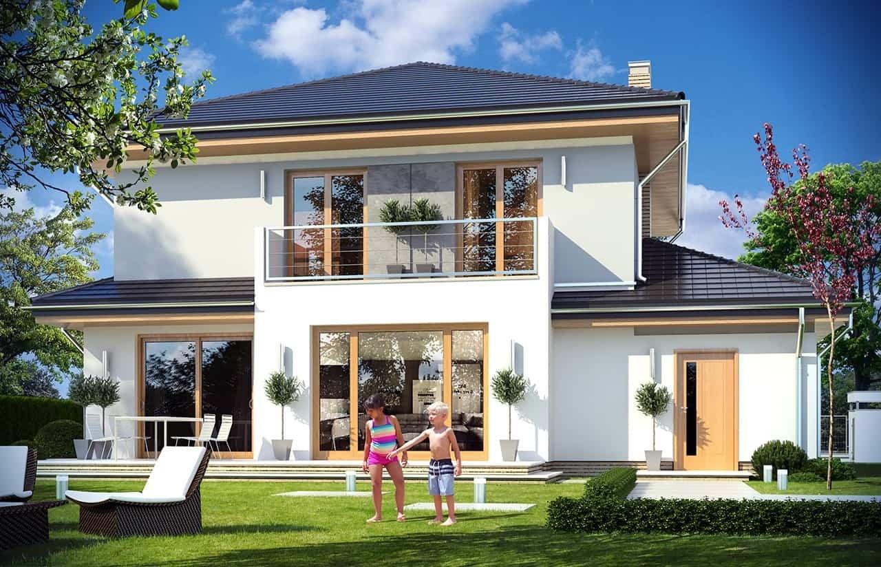 Projekt domu Szmaragd 4 - wizualizacja tylna odbicie lustrzane