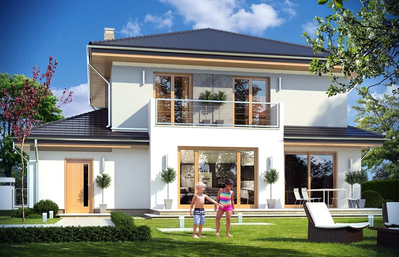 Projekt domu Szmaragd 4 - wizualizacja tylna