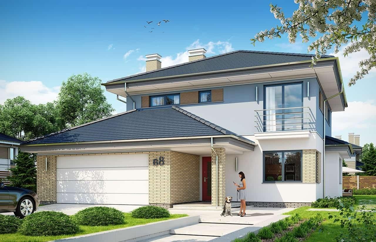Projekt domu Szmaragd 5 - wizualizacja frontowa odbicie lustrzane
