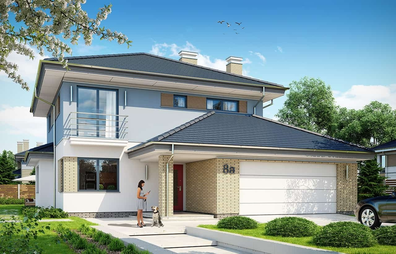 Projekt domu Szmaragd 5 - wizualizacja frontowa