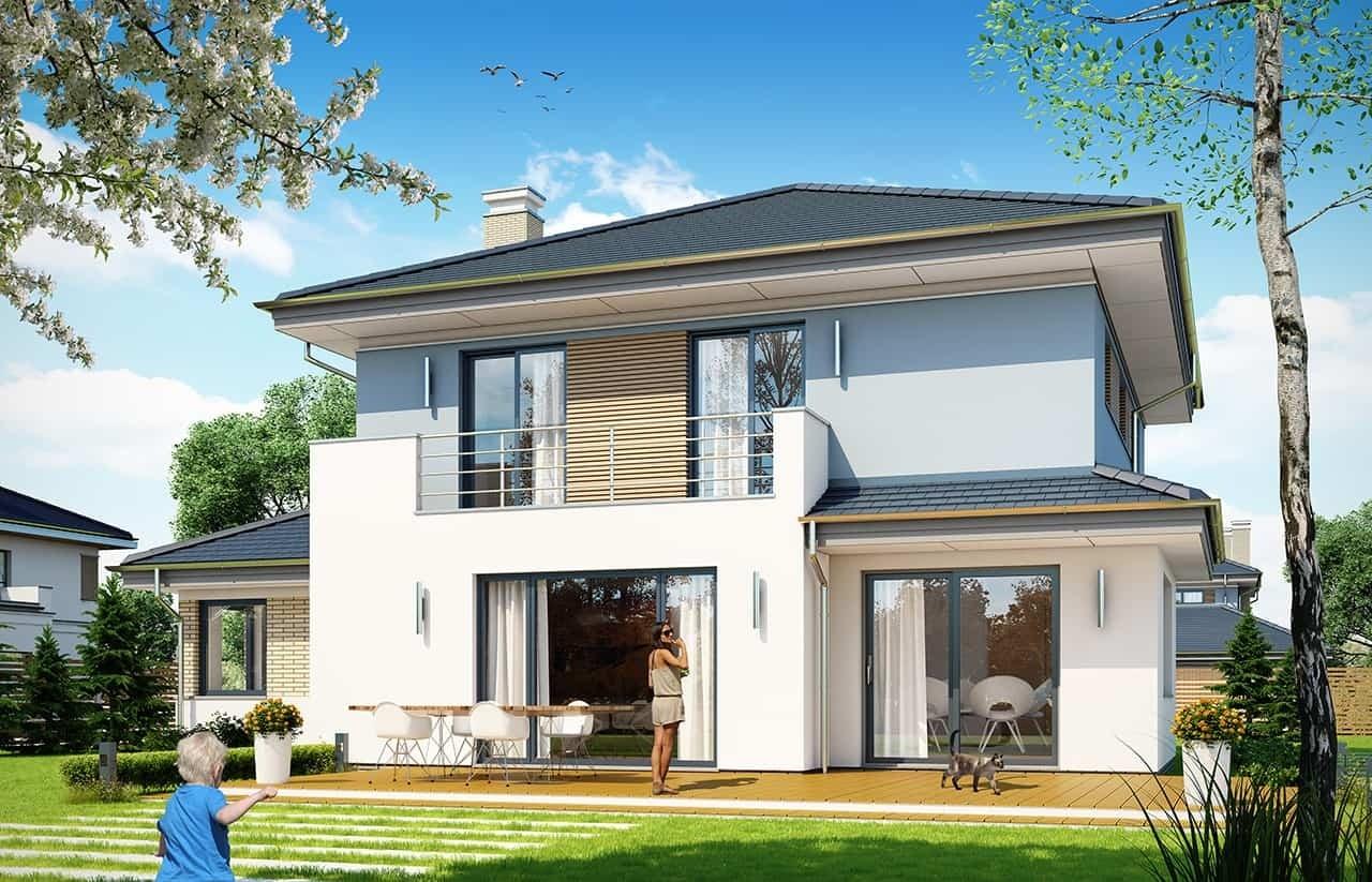 Projekt domu Szmaragd 5 - wizualizacja tylna