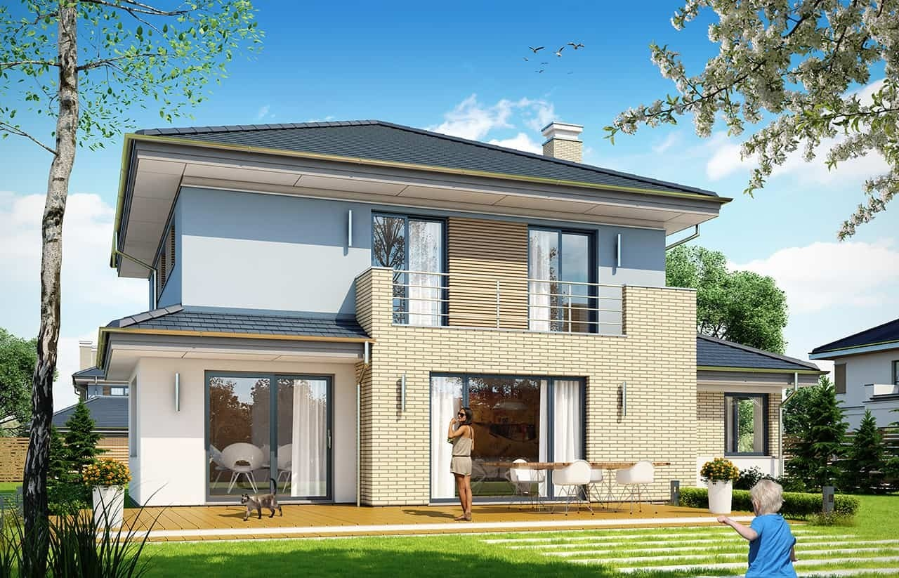 Projekt domu Szmaragd 5 - wizualizacja tylna odbicie lustrzane