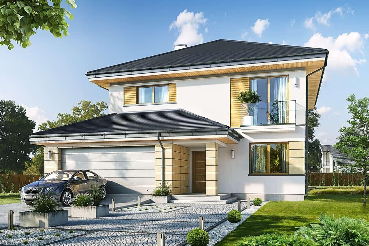 Projekt domu Szmaragd 6 - wizualizacja frontowa odbicie lustrzane
