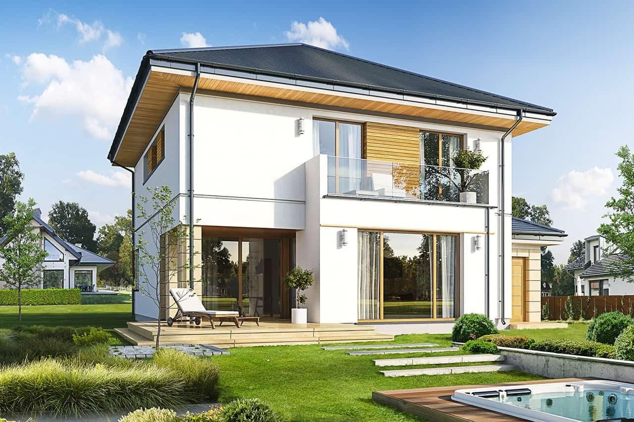 Projekt domu Szmaragd 6 - wizualizacja tylna odbicie lustrzane
