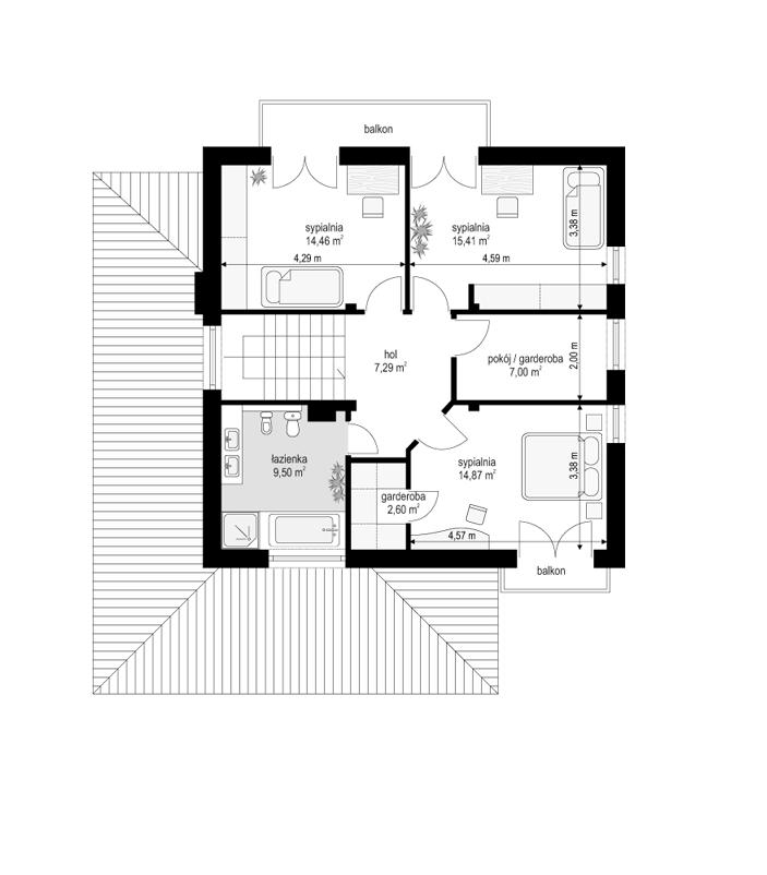 Szmaragd - rzut piętra odbicie lustrzane