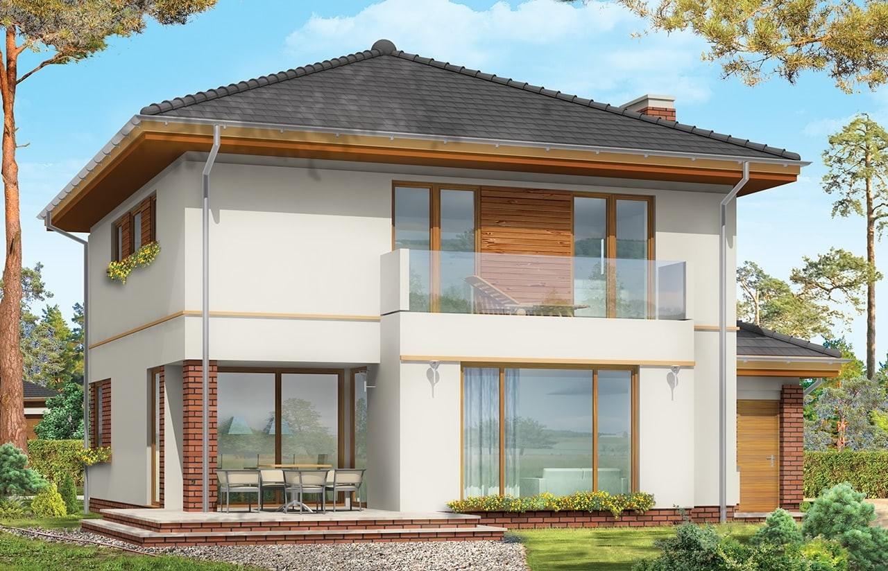 Projekt domu Szmaragd - wizualizacja tylna odbicie lustrzane