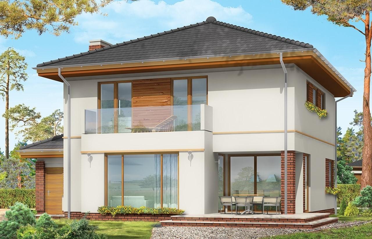 Projekt domu Szmaragd - wizualizacja tylna