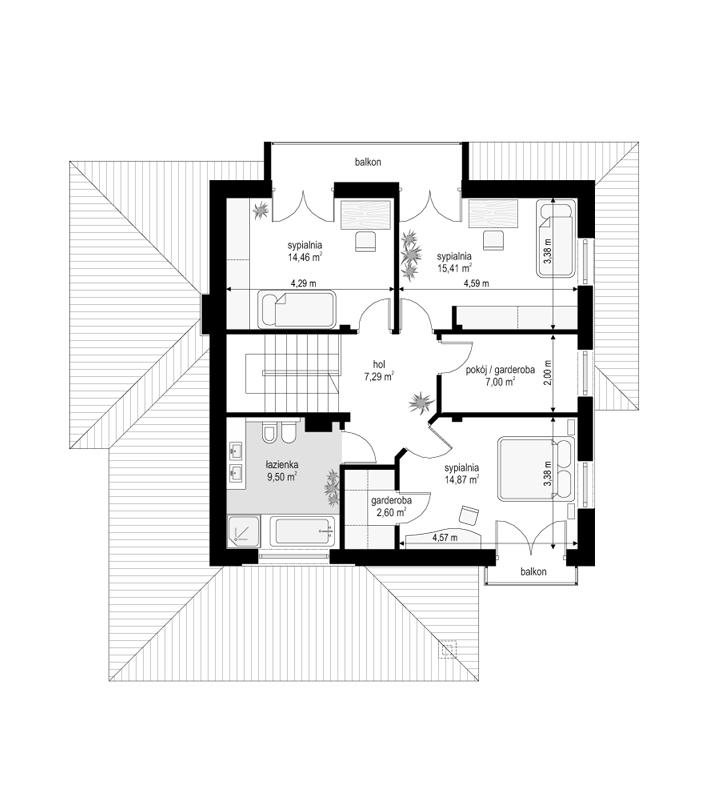 Szmaragd 4 - rzut piętra odbicie lustrzane