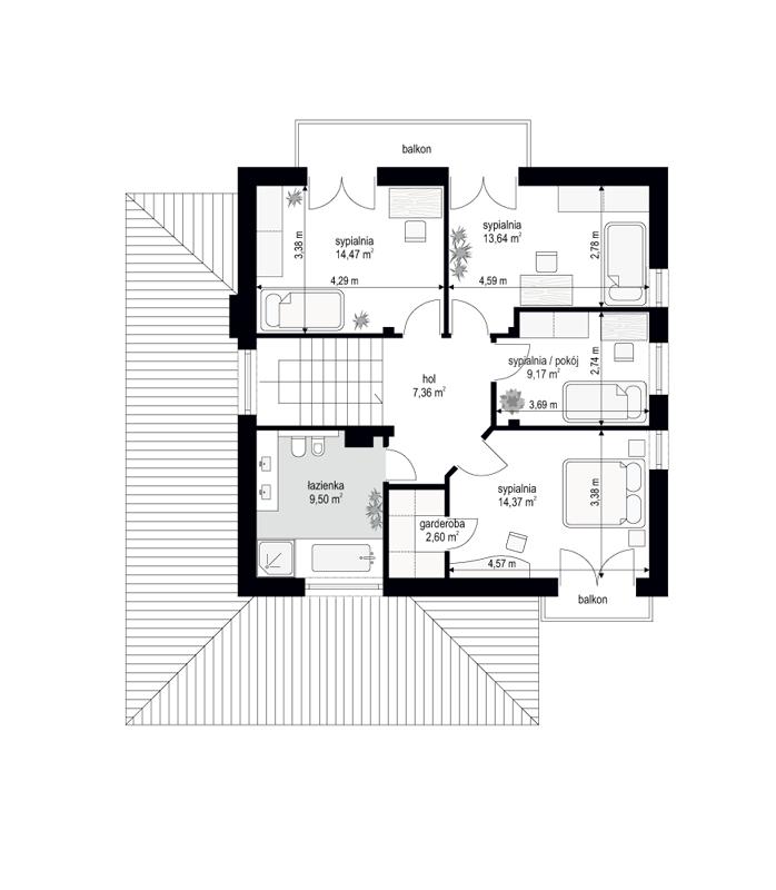 Szmaragd 6 - rzut piętra odbicie lustrzane