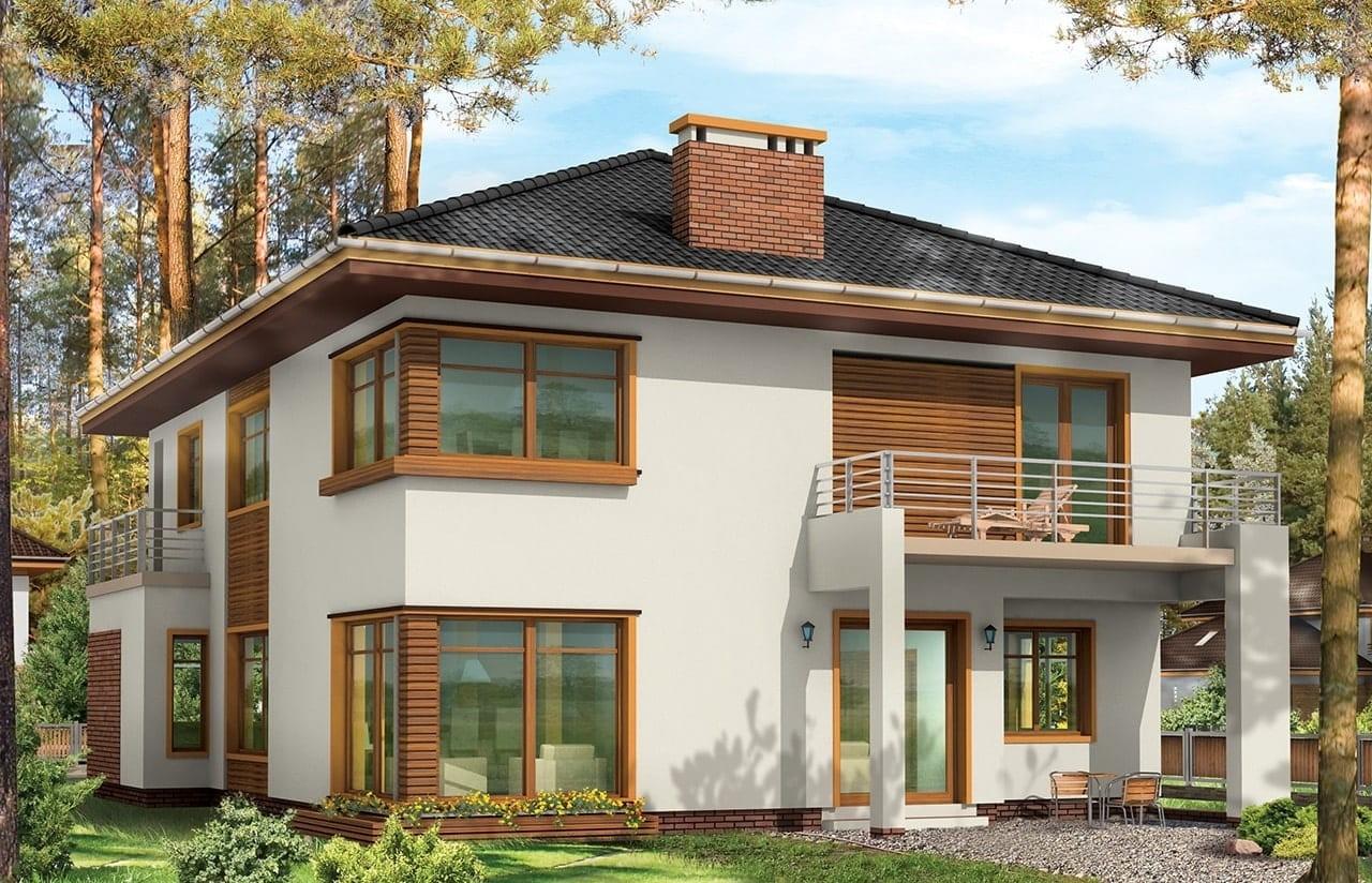 Projekt domu Topaz 2 - wizualizacja tylna odbicie lustrzane