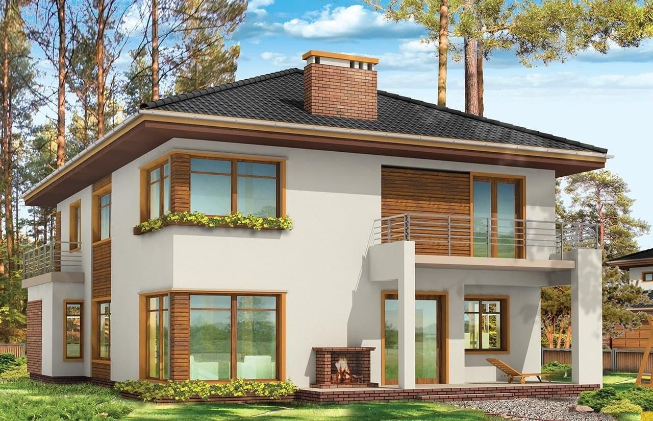 Projekt domu Topaz 3 - wizualizacja tylna odbicie lustrzane