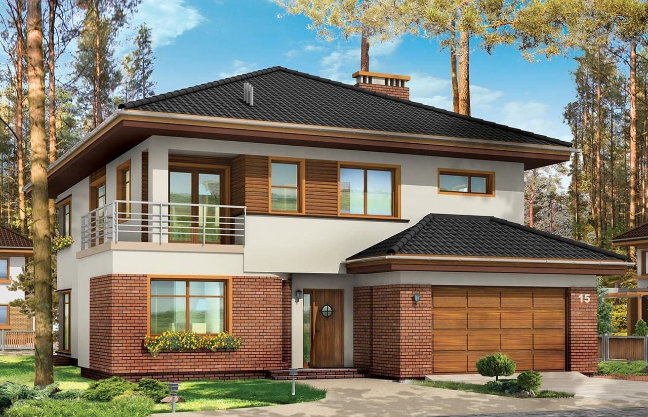 Projekt domu Topaz - wizualizacja frontowa