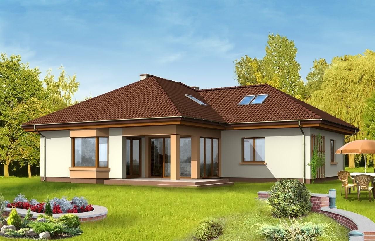Projekt domu Trzypokoleniowy - wizualizacja tylna
