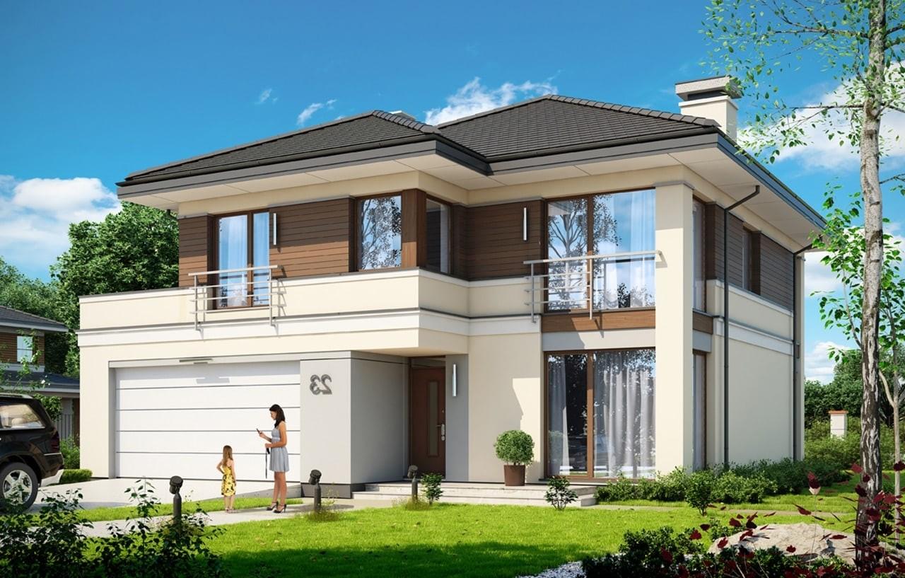 Projekt domu Tytan 3 - wizualizacja frontowa odbicie lustrzane