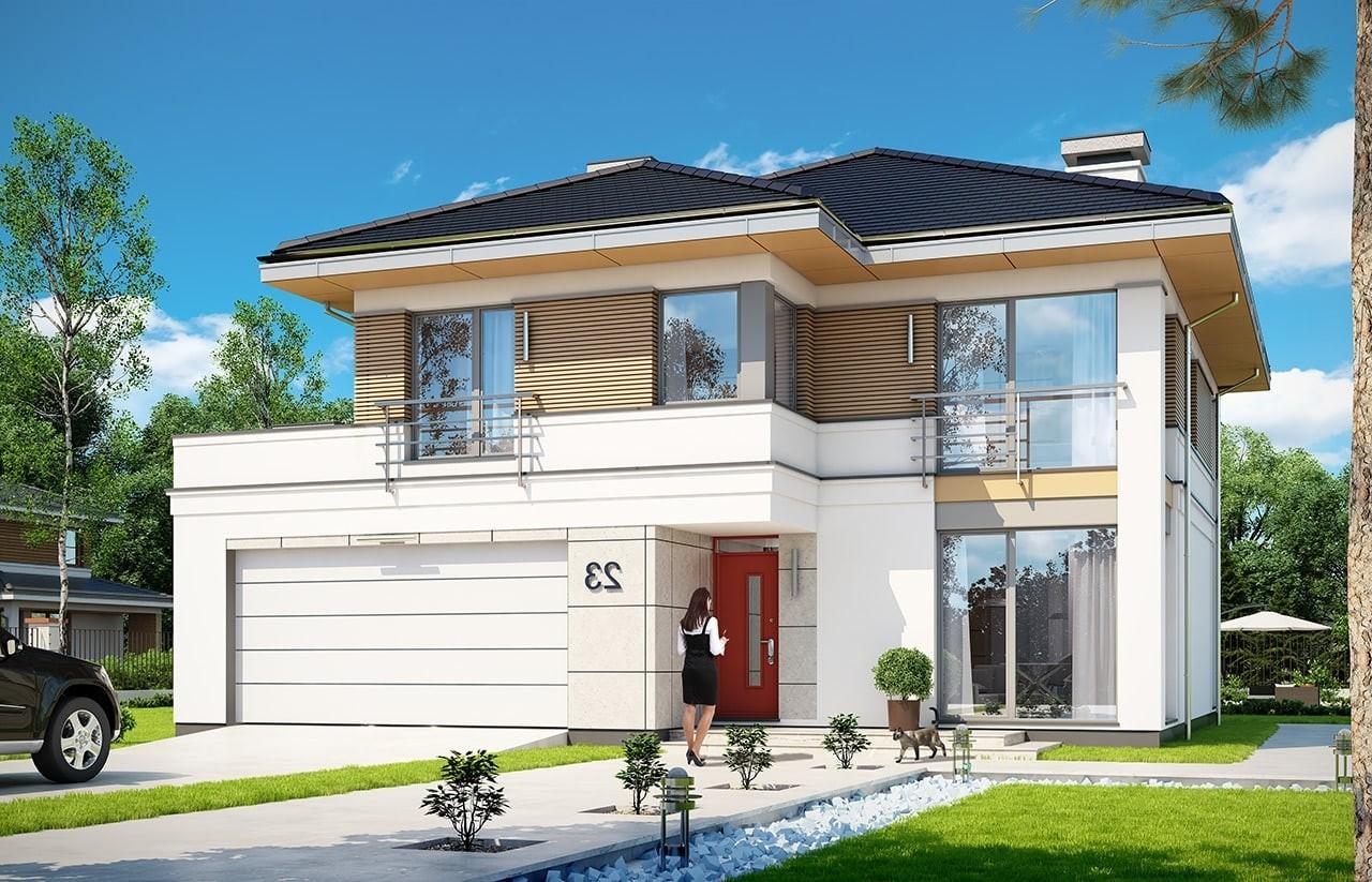 Projekt domu Tytan 4 - wizualizacja frontowa odbicie lustrzane