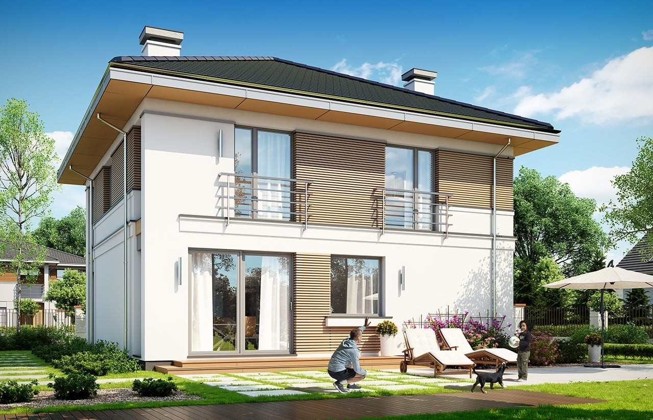 Projekt domu Tytan 4 - wizualizacja tylna odbicie lustrzane