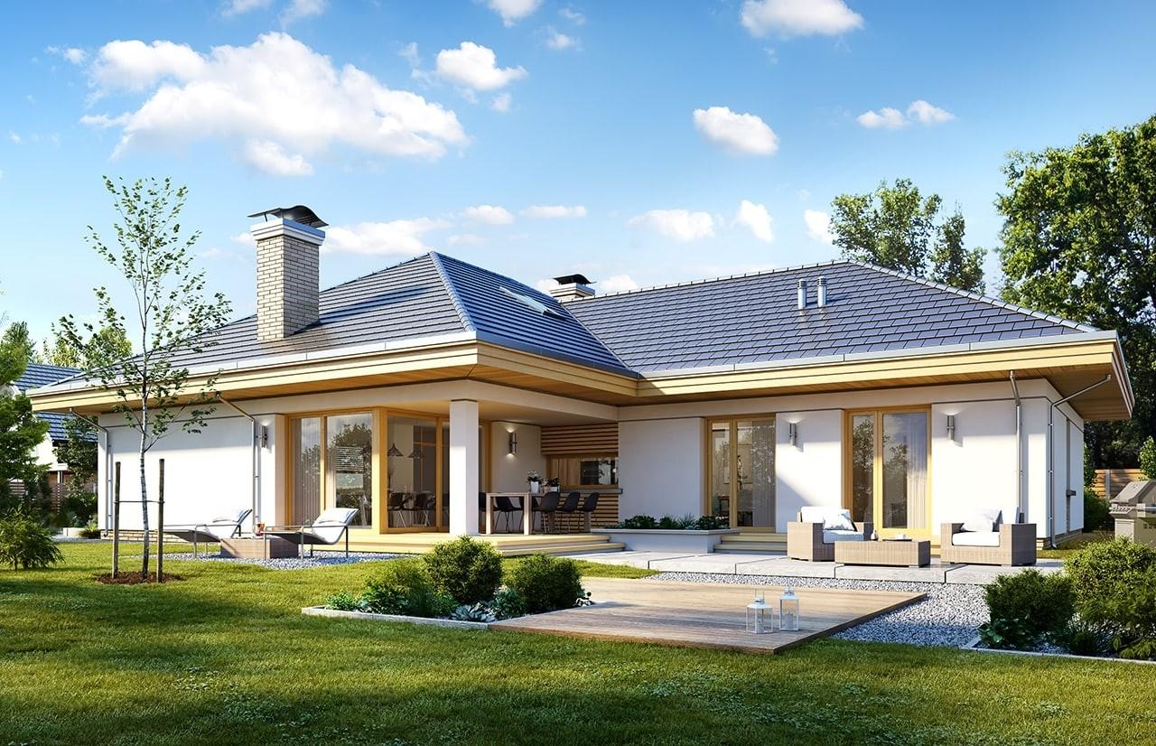 Projekt domu Uroczy wizualizacja tylna odbicie lustrzane