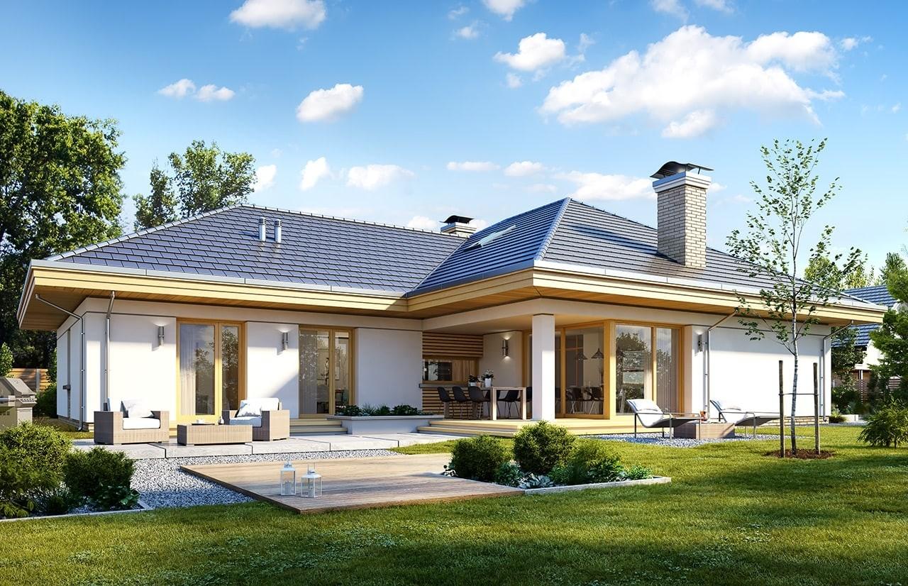 Projekt domu Uroczy wizualizacja tylna