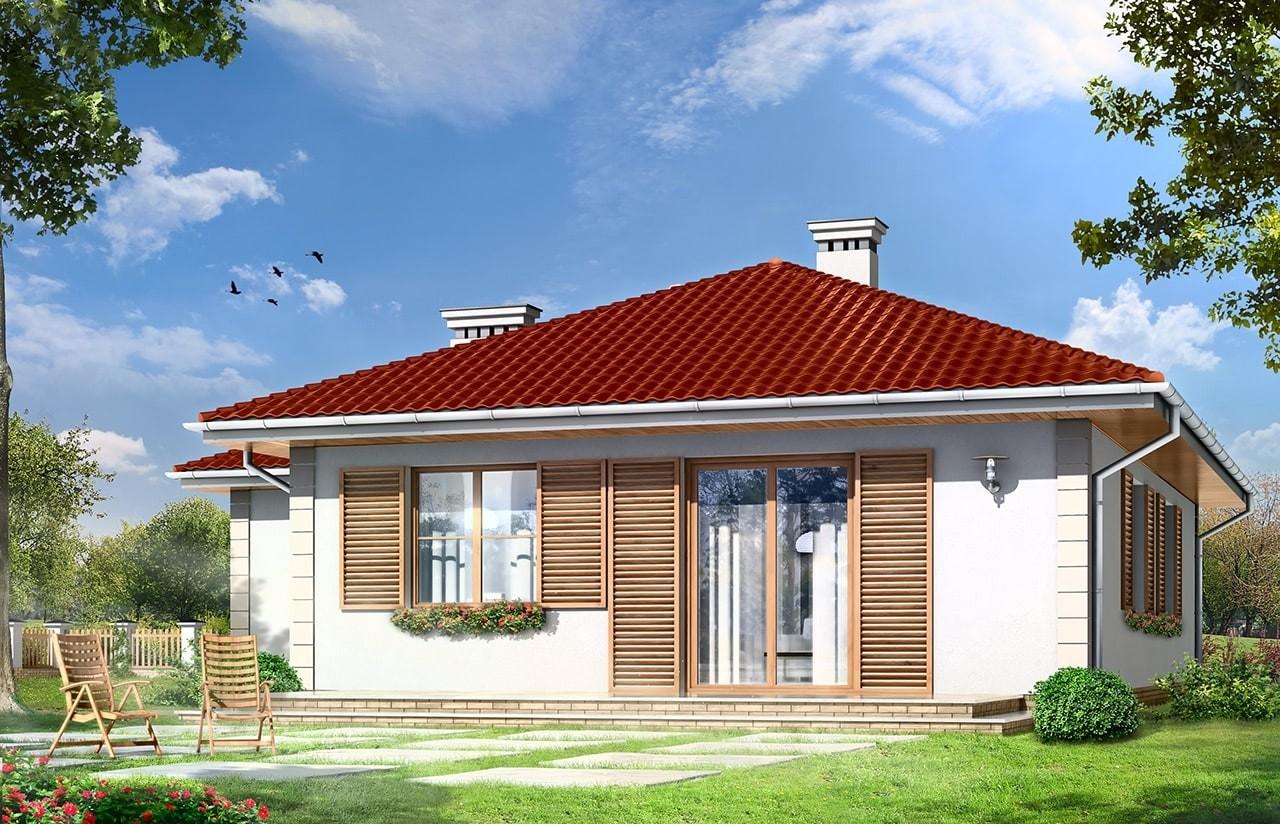 Projekt domu Urwis 2 - wizualizacja tylna odbicie lustrzane
