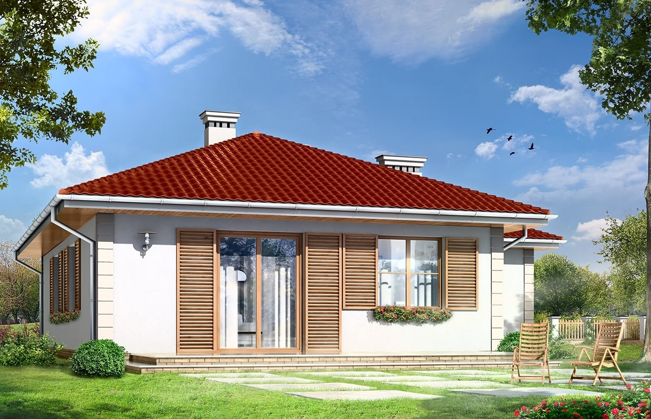 Projekt domu Urwis 2 - wizualizacja tylna