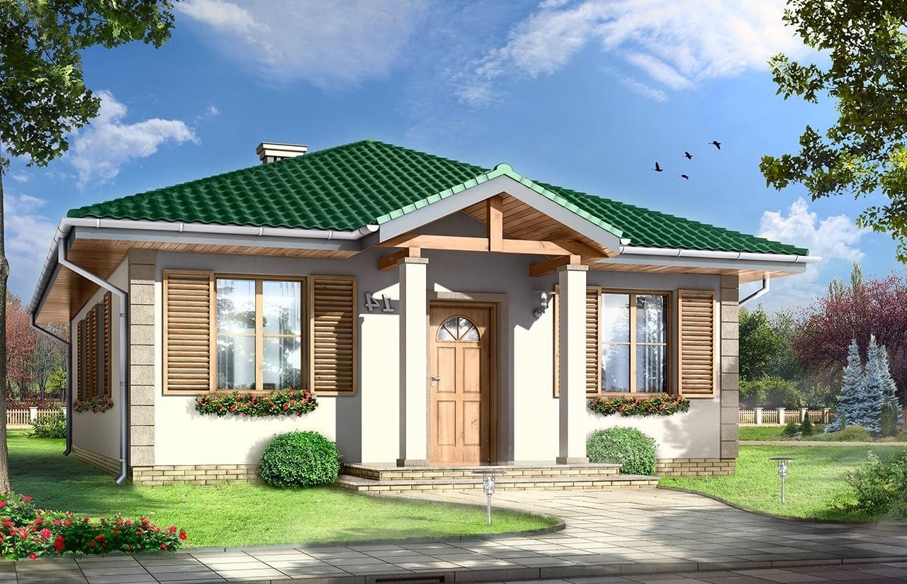 Projekt domu Urwis - wizualizacja frontowa odbicie lustrzane