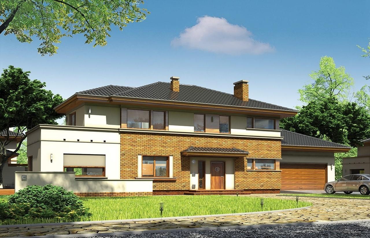 Projekt domu Verona - wizualizacja frontowa odbicie lustrzane